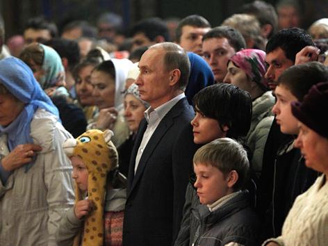 Wladimir Putin beim Gottesdienst in Sotschi