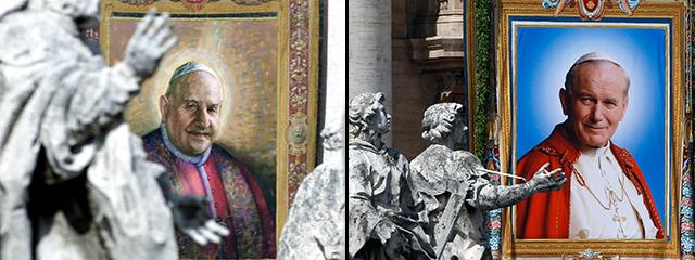 Fotomontage: je ein Gemälde von Papst Johannes Paul II. und Papst Johannes XXIII. bei ihren Seligsprechungen am Petersplatz