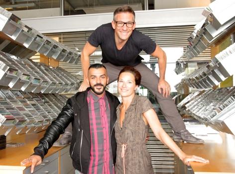 Nazar mit Andi Knoll und Sandra König in der Ö3-Musikredaktion