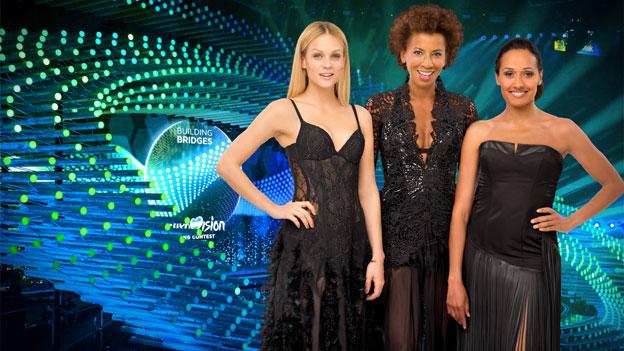 Das Outfit von Arabella Kiesbauer, Alice Tumler und Mirjam Weichselbraun beim Finale des Eurovision Song Contest