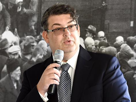 """IKG-Präsident Oskar Deutsch, am Montag, 13. April 2015, anl. der Veranstaltung der IKG und der ÖBB zum Thema """"Gedenken zum Jom Haschoa"""" in Wien"""