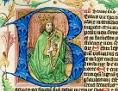 """Handschrift mit Motiv """"König David mit Harfe"""" in einem Klosterneuburger Stundenbuch, gemalt vom """"Lehrbüchermeister"""" um 1458"""