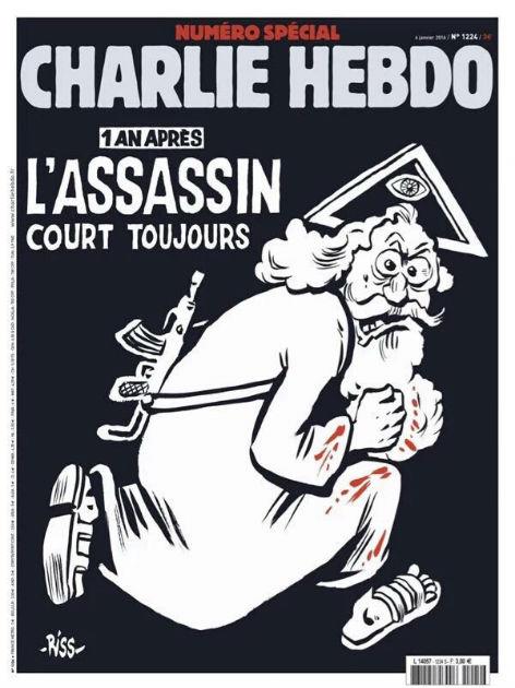 """""""Charlie Hebdo""""-Cover der Sonderausgabe ein Jahr nach den blutigen Anschlägen."""