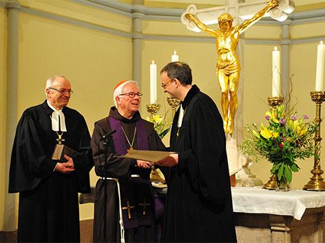 Bischof Michael Bünker, Erzbischof Franz Lackner und Superintendent Olivier Dantine