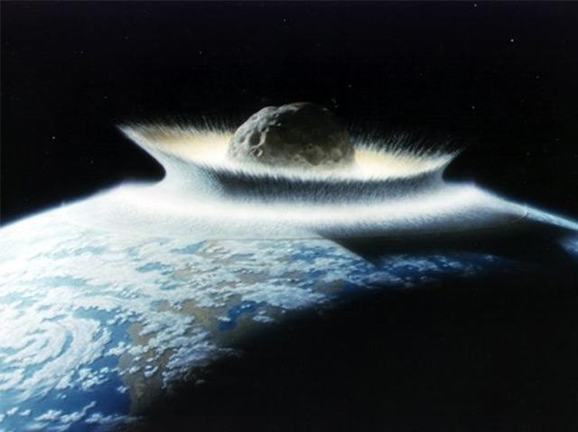 Illustration eines Meteoriteinschlags auf der Erde