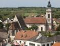 Evangelische Kirche Rust in Luftaufnahme im Sommer bei Tag