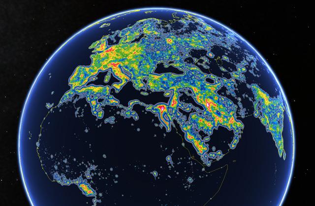 Globus mit Lichtverschmutzung
