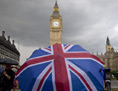 London Straßenszene, im Hintergrund Big Ben
