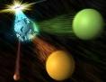 Künstlerische Darstellung: Ein subatomares Teilchen zerfällt in zwei weitere Teilchen