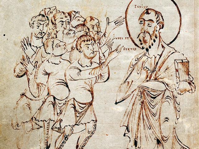 Abschrift der Paulus-Briefe mit einer Miniatur des predigenden Apostels Paulus