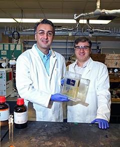 Forscher im Labor mit Solarzelle