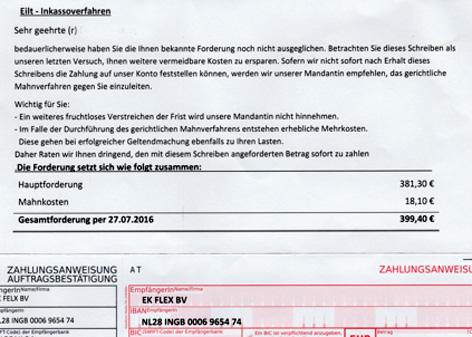 Der Inkassobrief der Firma EK Flex BV