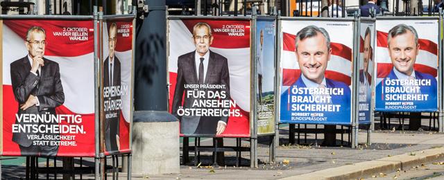 Wahlplakate Bundespräsidenten-Wahl