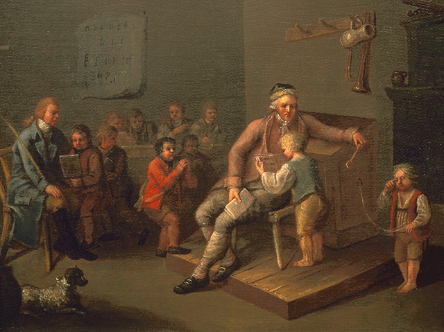 Unterricht in einer Knaben-Volksschule um 1750
