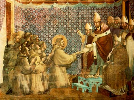 Franz und seine Brüder erbitten die Bestätigung der Regel: Fresko von Giotto di Bondone, um 1295, Oberkirche San Francesco in Assisi