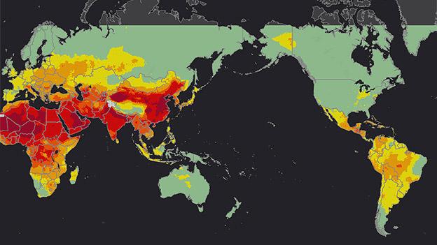 WHO-Karte der weltweiten Luftverschmutzung