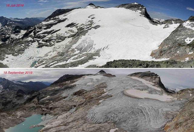 Ein Vergleich 18. Juli - 18. September. Nach dem späten Beginn der Eisabschmelzung war der Gletscher nach zwei Monaten stark ausgeapert