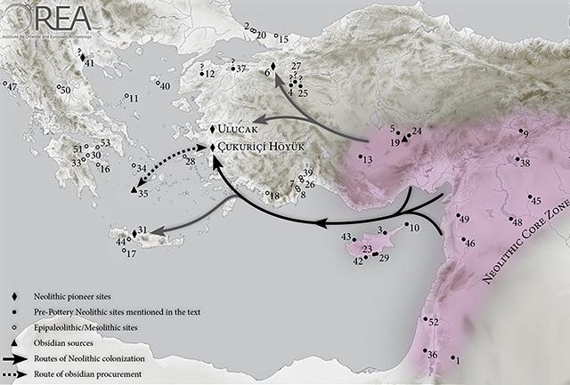 Modell der Ausbreitung des frühen Neolithikums vom Mittleren Osten in den Ägäischen Raum – zu Land und über den Seeweg