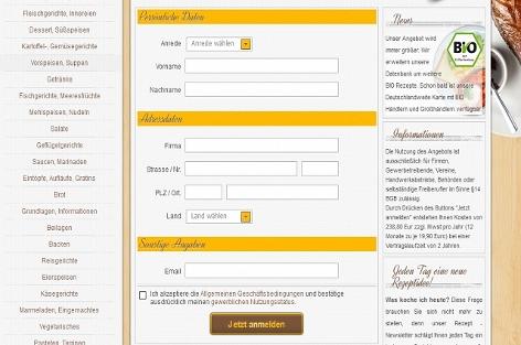 Homepage einer Abo-Falle mit Kochrezepten