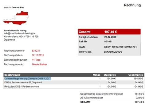 Screenshot eine vermeintlichen Rechnung der Austrioa Domain Hosting