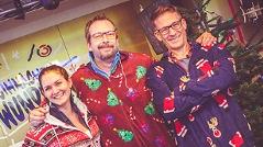 Gabi, Andi und Robert in ihren weihnachtlichen Einteilern