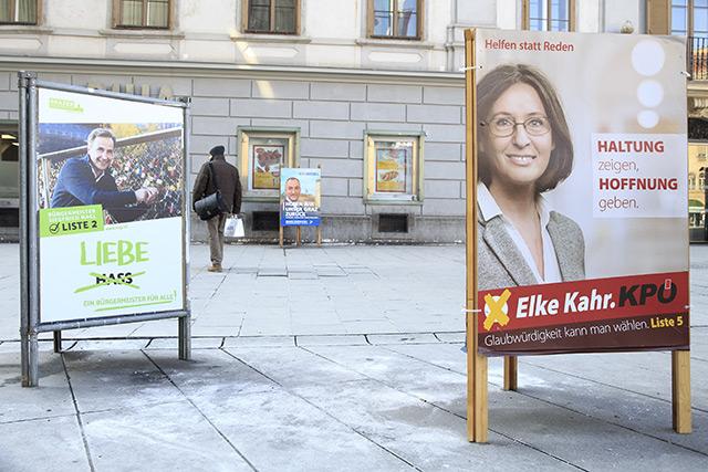 Grazer Geminderatswahl 2017: Wahlplakate auf der Straße