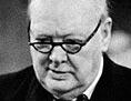 Winston Churchill, der eine Brille trägt