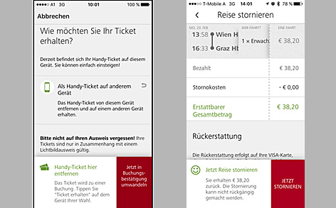 Screenshot der ÖBB-App