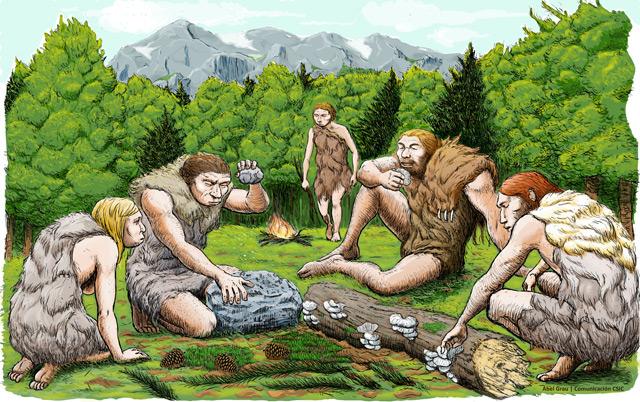 Zeichnung von Neandertalern
