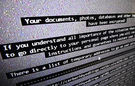 Attacke mit einem Erpressertrojaner - Bildschirmmeldung