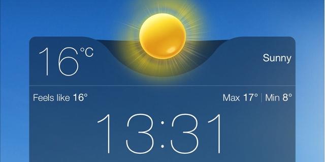 Screenshot einer Wetter-App