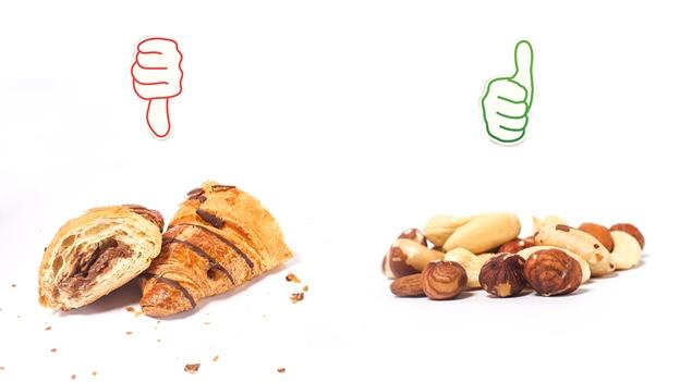 Nüsse sind ein besserer Snack als ein Schokocroissant