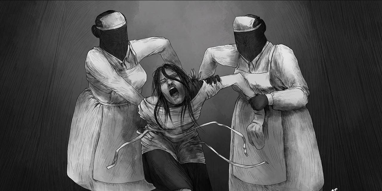 Frau wird von gesichtslosen Krankenschwerstern gehalten, Zeichnung