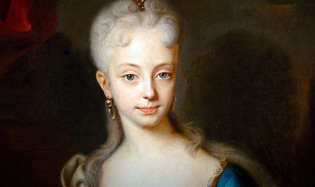Maria Theresia im Alter von etwa zehn bis zwölf Jahren (Gemälde von Andreas Möller um 1727) .