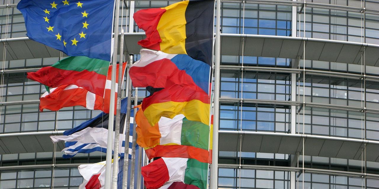 Fahnen alls Mitgliedstaaten vor dem EU Parlament