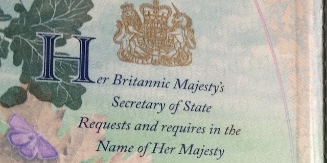 Die Innenseite eines britischen Reisepasses