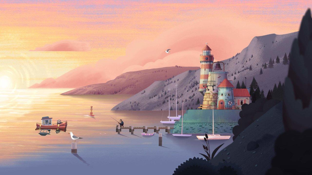 """Ein Leuchtturm und ein kleines Boot. Screenshot aus """"Old Man's Journey""""."""