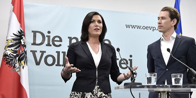 ÖVP-Generalsekretärin Elisabeth Köstinger und der designierte ÖVP-Chef Sebastian Kurz