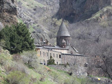 Armenien Geghard-Kloster. Früherer Aufbewahrungsort der Heiligen Lanze