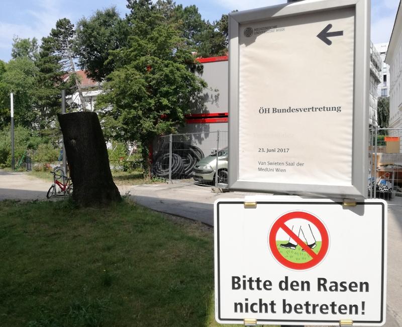 """Schild """"ÖH Bundesvertretung"""", darunter das Schild """"Rasen nicht betreten"""""""