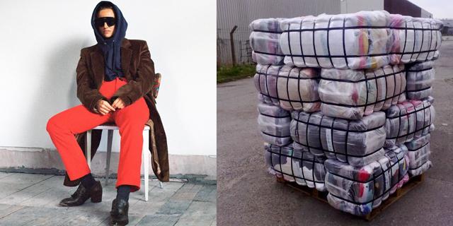 Ein Model in DWCM, Kleidung zu Paketen geschnürt