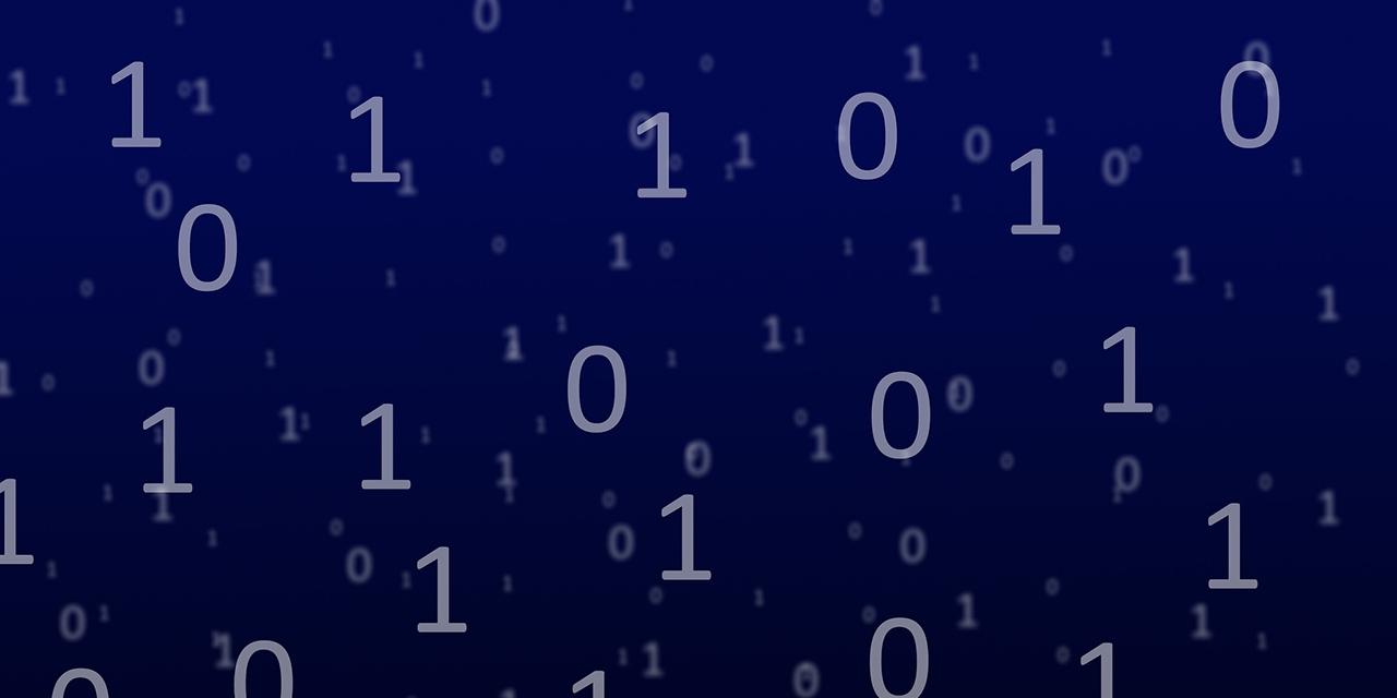 1- und 0-Zeichen als Darstellung eines binären bzw. digitalen Raums