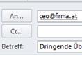 """Ein geöffnetes E-Mail adressiert an """"ceo@firma.at"""" mit dem Betreff """"Dringende Überweisung"""""""