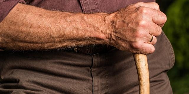 Rumpf und Arm eines alten Mannes mit Gehstock