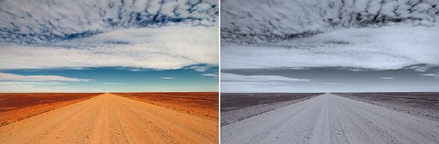 Fotomotiv Wüstenstraße - bearbeitet mit zwei Filtern (Farbe vs. Schwarzweiß)