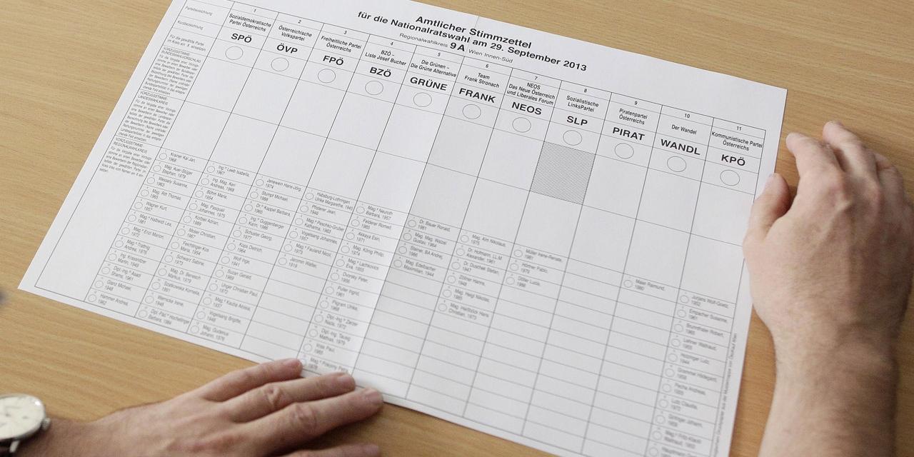 Stimmzettel für die Nationalratswahl 2013