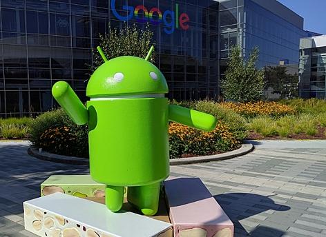 Android Statue auf dem Google Campus in Mountain View, Kalifornien