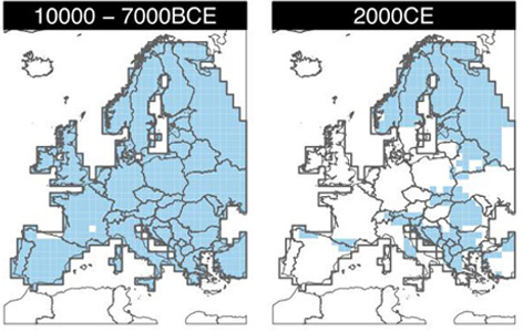 Verbreitung des Braunbären in Europa, 10.000 -7.000 v.Chr. und im Jahr 2000