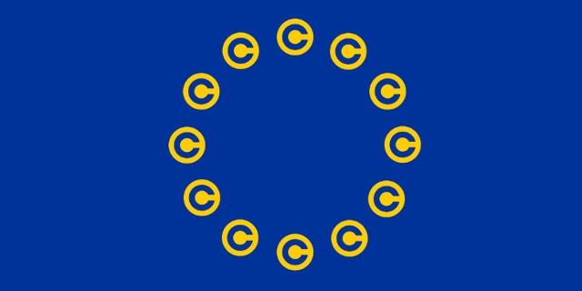 Copyright-Zeichen statt der Sterne auf der Flagge der EU
