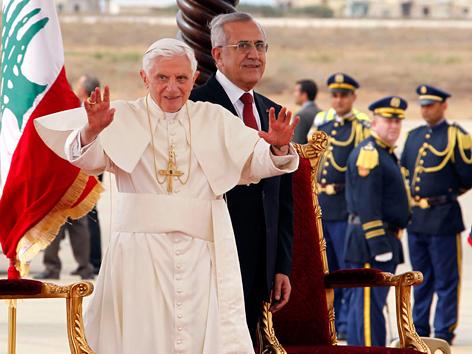 Papst Benedikt XVI. und Libanons Präsident Michel Suleiman